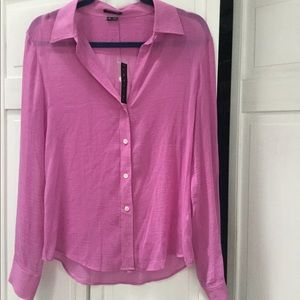 Theory NWT Pink Cotton/  Silk Button down -  M